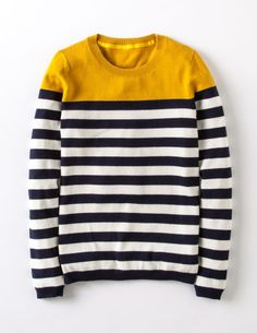 Boden Brigitte Sweater in navy/ivory stripe Nautical Stripes, Navy Stripes, Boden Women, Yellow Sweater, Pullover, Women Brands, Mode Inspiration, Chic Outfits, Autumn Winter Fashion