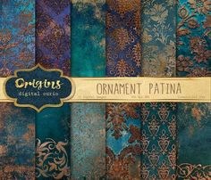 Idea: lots of metallic embossing powder over saturated jewel tones - Ornament Patina Digital Paper All my digital paper is on sale for 99 cents per 5 pack! Colour Schemes, Color Combos, Printable Scrapbook Paper, Color Pallets, Jewel Tones, Color Inspiration, Paint Colors, Colours, Wall Art