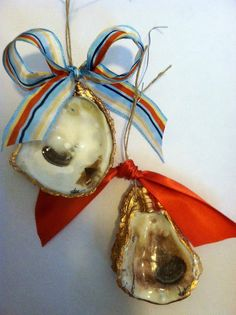 gold oyster shell ornaments by s. bynum art