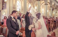 Father of the Bride lifting the Bride's veil | Vintage Wedding Photography | www.newvintagemedia.ca