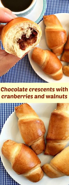 Chocolate crescents with cranberries and walnuts