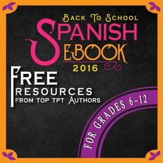 Welcome back, Teachers!Find some inspiration for your Grades 6-12 Spanish classes this year with tips and freebies from many of the top Spanish sellers on TpT. Each page is packed with tips, freebies, and other resources to help you add some fun and engagement to your classroom.