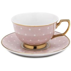 Cristina Re - Age of Elegance Blush Polka Teacup & Saucer | Peter's of Kensington