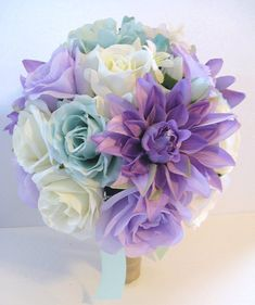 Free Shipping 17 pcs Wedding Silk flower Bouquet by Rosesanddreams