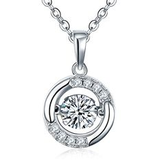 "YL Dancing Diamond Sterling Silver Cubic Zirconia Pendant Necklace, 1.4 Cttw 18"" * See this great product."
