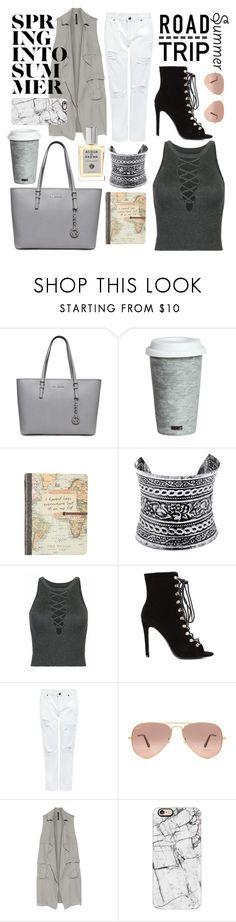 """Airport outfit: it seems I'm really into gray "" by teodorapetre ❤ liked on Polyvore featuring Fitz and Floyd, LULUS, Edit, Ray-Ban, W118 by Walter Baker, Casetify, Acqua di Parma and roadtrip"