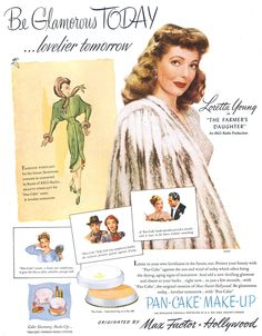 Loretta Young for 1947 Max Factor Hollywood ad