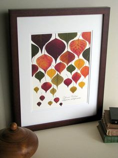 Pressed leaf print 11x14 double matted by FlatFlowerDesigns