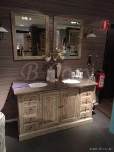 Lee&Lewis Bath Kast Oud Dennehout Olive Met Natuurstenen And 2 Wastafels 150 Landelijke badkamer-Landelijk badkamermeubel