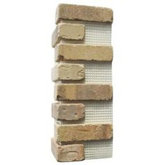 Old Mill Brick Brickwebb Alamo Sunrise Thin Brick Sheets - Corners (Box of 3 Sheets) 21 in x 15 in linear ft.) - - The Home Depot Concrete Bricks, Z Brick, Brick Tiles, Thin Brick Veneer, Brick Paneling, Tile Saw, Feature Tiles, Fire Clay, Art