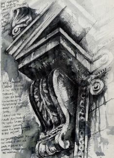 Ian Murphy - Architectural Studies in Sketchbook I like the use of ink and drawing to create this piece and the annotations next to it Architecture Sketchbook, Art And Architecture, Architecture Details, Classical Architecture, Architectural Features, Architectural Sketches, Architectural Photography, Illustration, Gcse Art