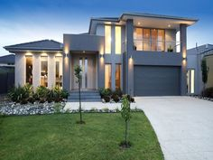 house facade ideas Photo of a concrete house exterior from real Australian home - House Facade photo of a concrete house exterior from real Australian home - House Facade photo 114685 Luxury Homes Exterior, Dream House Exterior, House Exterior Design, Exterior Houses, Facade Lighting, Exterior Lighting, Outdoor Lighting, Lighting Ideas, House Lighting