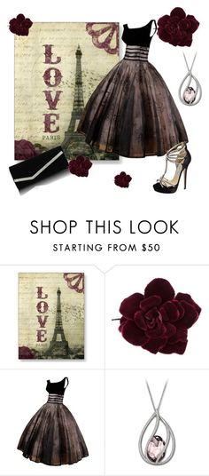 """""""The perfect dress"""" by carineazevedo ❤ liked on Polyvore featuring Post Card, Chanel, Jimmy Choo, Swarovski, burgundy, dress and jimmy choo"""