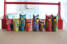 Woodland animal or camping theme - toilet paper tube owls.paint, fold down top for ears, decorate Projects For Kids, Craft Projects, Crafts For Kids, Arts And Crafts, Toilet Paper Roll Crafts, Paper Crafts, Owl Crafts, Camping Theme, Crafty Kids