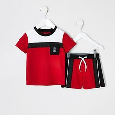 Shop our new Mini boys red pique blocked pocket set at River Island today. Summer Set, Summer Looks, Toddler Boys, Kids Boys, Baby Girl Items, Night Suit, Boys T Shirts, Baby Boy Outfits, Boy Fashion