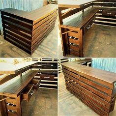 Amazing ideas with recycled wood pallets wood pallet furnitu Pallet Home Decor, Pallet Crafts, Diy Pallet Projects, Pallet Ideas, Wooden Pallet Bar, Wood Pallet Furniture, Furniture Ideas, Pallet Counter, Bar Counter Design