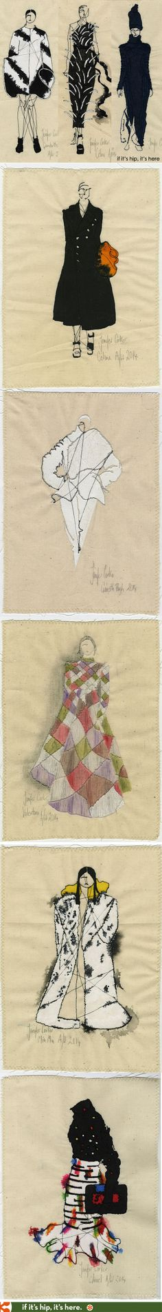 Jenifer Corker Depicts 2014 Runway Fashions by Chanel, Celine, Gareth Pugh, Balenciaga, Valetino and more in embroidery