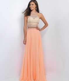 Blush Prom 11056 Cantaloupe Orange Two Piece Halter Chiffon Dress 2016 Prom Dresses