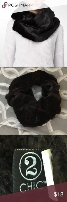 "2 Chic Infinity Scarf 2 Chic Infinity Faux Fur Scarf.  Dark Brown.  31"" L x 9"" W.  Great condition. 2 Chic Accessories Scarves & Wraps"
