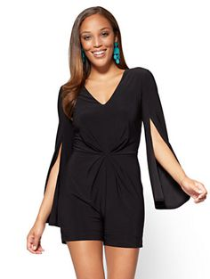 3e31b9a5c86 Shop V-Neck Open-Sleeve Romper - Black. Find your perfect size online