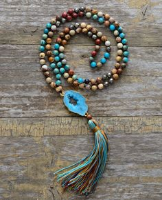 Natural Jasper Stone Tassel Necklace - Length 35.5 inches