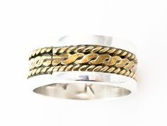 925 Silver 12KGF Band Ring Size 8 3/4