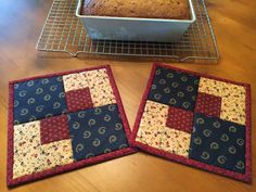 Pot Holders /Quilted Potholders / Patriotic by QuiltedByVal