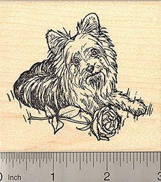 Yorkshire Terrier Rubber Stamp Detailed Yorkie Art Dog with Rose Valentine * Visit the image link more details.