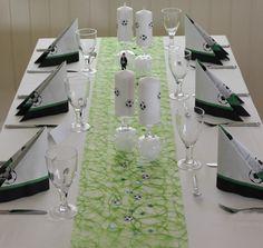 pyntet bord til fotball konfirmasjon, bordpynt, football decoration, www.pynttilfest.no
