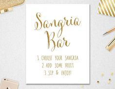 Sangria Bar Sign INSTANT DOWNLOAD // 5X7 // by PaperBearPrintable