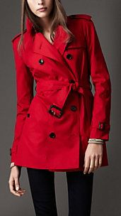 beautiful red trench coat.
