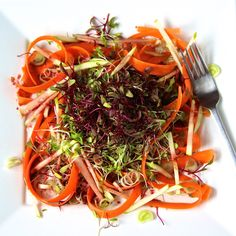 Shaved carrot and micro greens salad