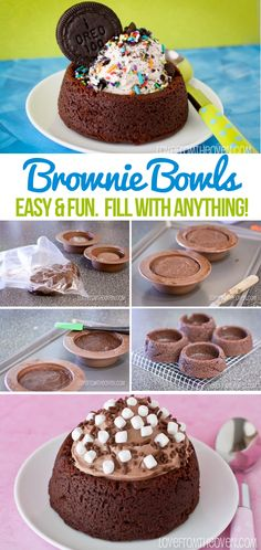 Brownie Bowls. These are so cool, make a bowl out of brownies and fill with ice cream, fruit, mousse, pudding, yogurt - anything! Pinning this one!