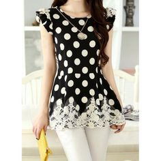 Elegant Jewel Neck Polka Dot Butterfly Sleeve Blouse For Women Cheap Blouses, Blouses For Women, Casual Outfits, Cute Outfits, Abaya Fashion, Polka Dot Blouse, Blouse Styles, Elegant Woman, Cute Tops
