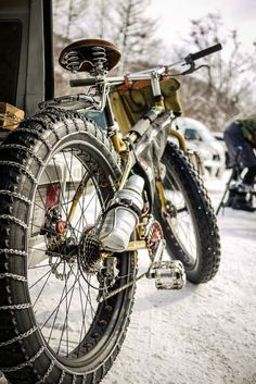 cadenced: Bicycle snow chains on a Surly Pugsley in Jozankei, Hokkaido, Japan. Photo comes from Robert Thomson's Flickr stream.
