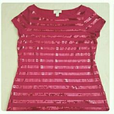 Anne Taylor Loft Red Sequined Top Anne Taylor Loft Red Sequined Top Ann Taylor Tops Blouses