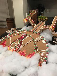 A Gingerbread Version of Star Trek's USS Enterprise Starship Crash Landing on a Planet