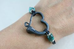 Horse shoe nail bracelet with Turquoise, Hand forged heart bracelet, Hand forged iron jewelry Horseshoe Nail Art, Horseshoe Crafts, Nail Jewelry, Metal Jewelry, Jewelry Ideas, Simple Jewelry, Jewlery, Horse Shoe Nails, Iron Anniversary Gifts