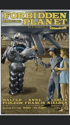 love poster Forbidden Planet Posters, by Robert Bertie Great Sci Fi Movies, Classic Sci Fi Movies, Good Movies, Film Science Fiction, Fiction Movies, Planet Movie, Robby The Robot, Perry Rhodan, Best Sci Fi