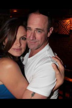 Mariska Hargitay and Chris Meloni, a.k.a. Detectives Olivia Besnon and Elliot Stabler from Law and Order:SVU