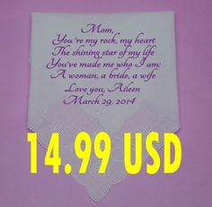 Personalized handkerchief for mother of the by PromiseForever, $14.99