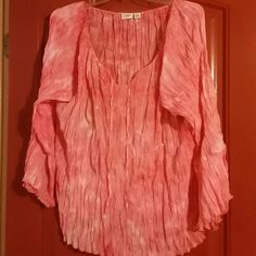 Sheer flowy pink shirt. New without tags Never worn pink sparkly shirt. Has billowy feel to it. Has tie at neck. Size 22/24 Cato Tops Blouses