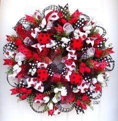 Spring Wreath-Ladybug Wreath-Summer Wreath-Deco by SeasonalWreaths