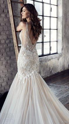 eddy k 2018 bridal sleeveless v neck heavily embellished bodice elegant sexy mermaid wedding dress open v back chapel train (ct187) zbv