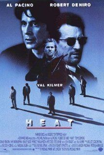 Directed by Michael Mann. With Al Pacino, Robert De Niro, Val Kilmer, Jon Voight. A group of professional bank robbers start to feel the heat from police when they unknowingly leave a clue at their latest heist. Film Heat, Heat Movie, Action Movie Poster, Action Movies, Movie Posters, Cult Movies, Val Kilmer, Monsieur Cinema, Heat 1995