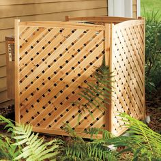 Wood Lattice Air Conditioner Screen