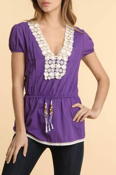 Shes Cool Crochet Front Peasant Cotton Top In Purple -