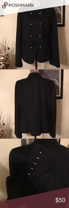ANN TAYLOR LOFT coat Navy wool blend double breasted heavy weight coat with silk lining.  Slit front pockets and flat collar.  Freshly dry cleaned and in great  lightly used condition. Ann Taylor Jackets & Coats Pea Coats