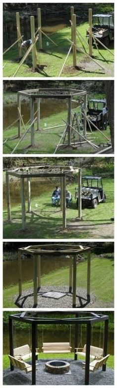Gazebo with swings and firepit...want this by my son's graduation