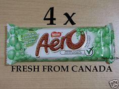 4 NESTLE AERO BARS PEPPERMINT CHOCOLATE CANADIAN CHOCOLATE BARS 4 Full Size Bars